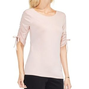 Vince Camuto Peach Ruched Elbow Sleeve Top